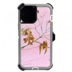 iPhone 12 Pro Max hybrid design case clip heavy duty holster cover - PINK TREE