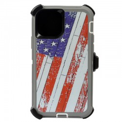 iPhone 12 Mini hybrid design case with clip heavy duty holster cover - FLAG