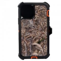 iPhone 12 Mini hybrid design case clip heavy duty holster cover - ORANGE GRASS