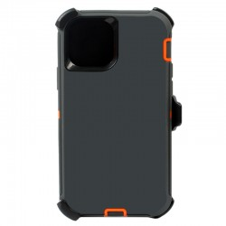 iPhone 12 Mini hybrid case with clip heavy duty kickstand holster cover -Grey/Orange