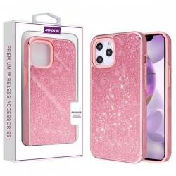 Asmyna Encrusted Rhinestones Hybrid Case for Apple iPhone 12 Pro Max (6.7) - Electroplated Pink / Pink