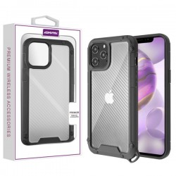 Asmyna Hybrid Case for APPLE iPhone 12 Pro Max (6.7) - Transparent Clear Carbon Fiber Texture / Black