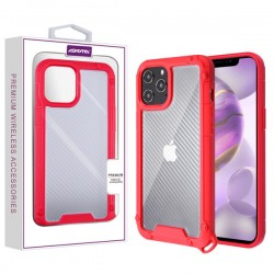 Asmyna Hybrid Case for APPLE iPhone 12 Pro Max (6.7) - Transparent Clear Carbon Fiber Texture / Red