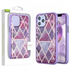 Hybrid Case for APPLE iPhone 12 Pro Max (6.7) - Purple Marbling / Purple