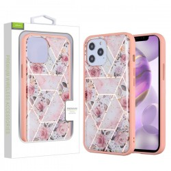 Hybrid Case for APPLE iPhone 12 Pro Max (6.7) - Roses Marbling / Pink