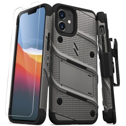 ZIZO BOLT SERIES IPHONE 12 MINI CASE WITH TEMPERED GLASS - GRAY/BLACK