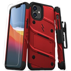 ZIZO BOLT SERIES IPHONE 12 MINI CASE WITH TEMPERED GLASS - RED/BLACK