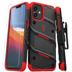ZIZO BOLT SERIES IPHONE 12 MINI CASE WITH TEMPERED GLASS - BLACK/RED