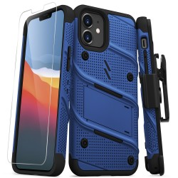ZIZO BOLT SERIES IPHONE 12 MINI CASE WITH TEMPERED GLASS - BLUE/BLACK