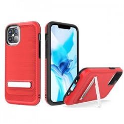 "Brushed with magnetic kickstand for iPhone 12 (5.4"") - Red"