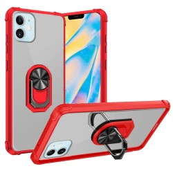 "Clear Transparent Ring Stand Magnetic Hybrid for iPhone 12 (5.4"") - Clear/Red"