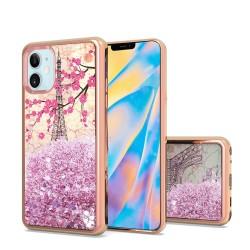 "Design Water Quicksand Glitter Chrome TPU - For Apple iPhone 12 (5.4"") - Eiffel Tower Paris"