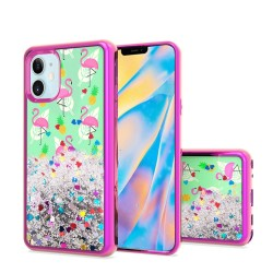 "Design Water Quicksand Glitter Chrome TPU - For Apple iPhone 12 (5.4"") - Flamingo Pineapple Feather"