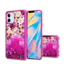"Design Water Quicksand Glitter Chrome TPU - For Apple iPhone 12 (5.4"") -  Rose Pink White Flower"