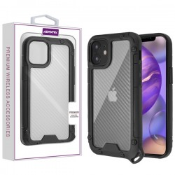 Asmyna Hybrid Case for APPLE iPhone 12 (5.4) - Transparent Clear Carbon Fiber Texture / Black