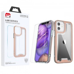 MyBat Pro Lux Series Hybrid Case (Tempered Glass Screen Protector) for Apple iPhone 12 mini (5.4) - Rose Gold / Transparent Clear