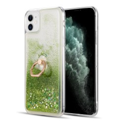 "WATERFALL RING LIQUID SPARKLING QUICKSAND TPU CASE FOR IPHONE 12 MINI (5.4"") - GREEN"