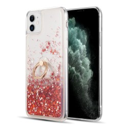 "WATERFALL RING LIQUID SPARKLING QUICKSAND TPU CASE FOR IPHONE 12 MINI (5.4"") - RED"