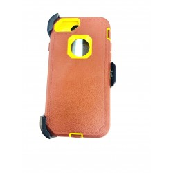O++ER CASE WITH HOLSTER FOR IPHONE 6/7/8 - BROWN/YELLOW