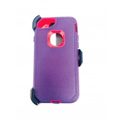 O++ER CASE WITH HOLSTER FOR IPHONE 6/7/8 - PURPLE/HOT PINK