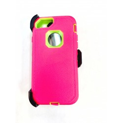 O++ER CASE WITH HOLSTER FOR IPHONE 6/7/8 - PINK/LIME
