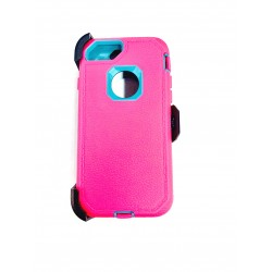O++ER CASE WITH HOLSTER FOR IPHONE 6/7/8 - PINK/LIGHT BLUE