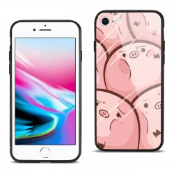 Hard Glass Design TPU Case With Pink Pig Faces for iPhone 7/8/SE2