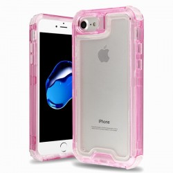 Hybrid Protector Cover for APPLE iPhone 8/7 - Transparent Pink / Transparent Clear