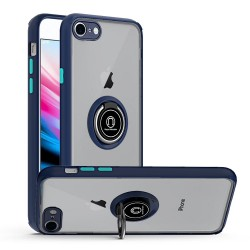 Premium Painted Leather Oil PC TPU w/ Magnetic Metal Ring and Covered Camera (Not Lens) for iPhone 7/8 - Dark Blue