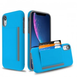 MYBAT Blue/Gray Poket Hybrid Protector Cover (with Back Film)(with Package) for iPhone XR