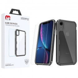 MyBat Pro Lux Series Hybrid Case (Tempered Glass Screen Protector)[Military-Grade Certified] for Apple iPhone XR - Black / Transparent Clear
