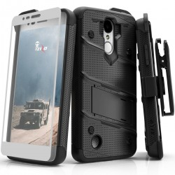 ziZo Bolt with Kickstand, Holster, Temperd Glass, Lanyard for LG ARISTO 2/3