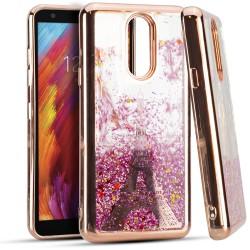 CHROME Glitter Motion Paris Tower ROSE GOLD For LG Aristo 4 Plus
