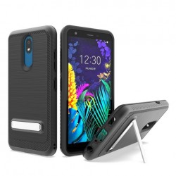 Brushed Metallic Case W/ Edge and Kickstands Black For LG Aristo 4 Plus