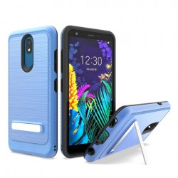 Brushed Metallic Case W/ Edge and Kickstands Blue For LG Aristo 4 Plus