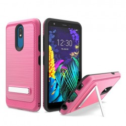 Brushed Metallic Case W/ Edge and Kickstands Hot Pink For LG Aristo 4 Plus