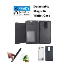 Luxurious Magnetic Wallet with Retail Package, Black For LG Aristo 4 Plus