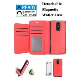 Luxurious Magnetic Wallet with Retail Package, Red For LG Aristo 4 Plus