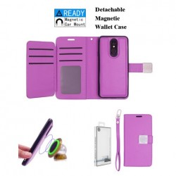 Luxurious Magnetic Wallet with Retail Package, Purple For LG Aristo 4 Plus