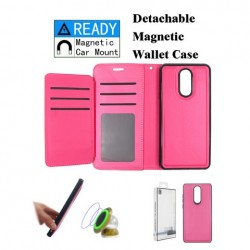 Luxurious Magnetic Wallet with Retail Package, Pink For LG Aristo 4 Plus