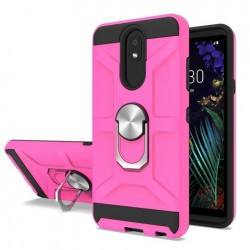 New Matte Design Brush Case with Ring Stands Pink For LG Aristo 4 Plus