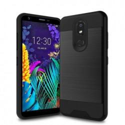 Hybrid Texture Brushed Metal case, Black For LG Aristo 4 Plus