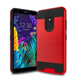 Hybrid Texture Brushed Metal case, Red For LG Aristo 4 Plus