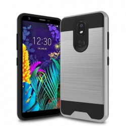 Hybrid Texture Brushed Metal case, Silver For LG Aristo 4 Plus