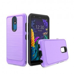 Brushed Metallic Case W/ Edge Purple For LG Aristo 4 Plus