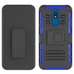 Armor Stand w/ Holster, Blue For LG Aristo 4 Plus