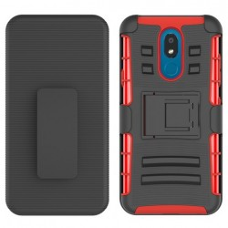 Armor Stand w/ Holster, Red For LG Aristo 4 Plus