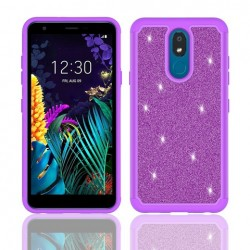 Hybrid Glister Bling Shock Proof Case, Purple For LG Aristo 4 Plus