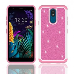 Hybrid Glister Bling Shock Proof Case, Pink For LG Aristo 4 Plus