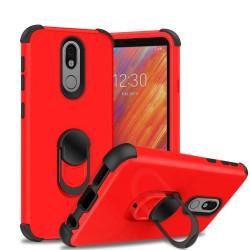degree King Ring Stand Hybrid w/ Raised Edges - Red PC/Black For LG Aristo 4 Plus